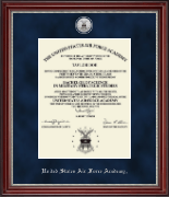 United States Air Force Academy Diploma Frame - Silver Engraved Medallion Diploma Frame in Kensington Silver