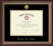 Sigma Tau Delta Certificate Frame - Gold Engraved Medallion Certificate Frame in Hampshire
