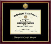 Ridgefield High School in Connecticut Diploma Frame - Gold Engraved Medallion Diploma Frame in Galleria