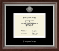 Earlham College Diploma Frame - Silver Engraved Medallion Diploma Frame in Devonshire