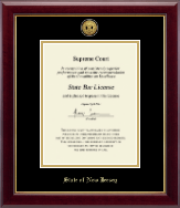 State of New Jersey Certificate Frame - Gold Engraved Medallion Certificate Frame in Gallery