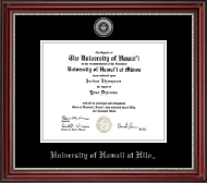 University of Hawaii at Hilo Diploma Frame - Silver Engraved Medallion Diploma Frame in Kensington Silver