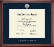 The Juilliard School Diploma Frame - Silver Engraved Medallion Diploma Frame in Kensington Silver