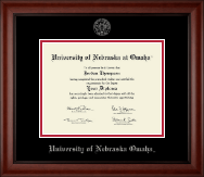 University of  Nebraska Omaha Diploma Frame - Silver Embossed Diploma Frame in Cambridge