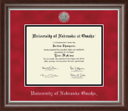 University of  Nebraska Omaha Diploma Frame - Silver Engraved Medallion Diploma Frame in Devonshire