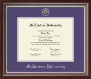 McKendree University Diploma Frame - Silver Engraved Medallion Diploma Frame in Devonshire