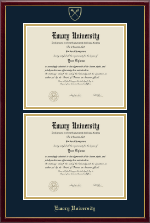 Emory University  Diploma Frame - Double Document Diploma Frame in Galleria