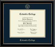 Catawba College Diploma Frame - Gold Embossed Diploma Frame in Onyx Gold