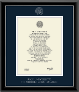 Rice University Diploma Frame - Silver Embossed Diploma Frame in Onyx Silver
