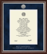Rice University Diploma Frame - Silver Engraved Medallion Diploma Frame in Devonshire
