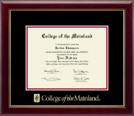 College of the Mainland Diploma Frame - Gold Embossed Diploma Frame in Gallery