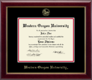 Western Oregon University Diploma Frame - Gold Embossed Diploma Frame in Gallery