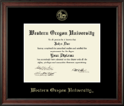 Western Oregon University Diploma Frame - Gold Embossed Diploma Frame in Studio
