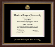 Western Oregon University Diploma Frame - Gold Engraved Medallion Diploma Frame in Hampshire