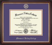 Missouri Valley College Diploma Frame - Gold Embossed Diploma Frame in Regency Gold