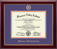 Missouri Valley College Diploma Frame - Gold Embossed Diploma Frame in Gallery
