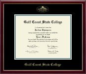 Gulf Coast State College Diploma Frame - Gold Embossed Diploma Frame in Galleria