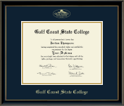 Gulf Coast State College Diploma Frame - Gold Embossed Diploma Frame in Onexa Gold