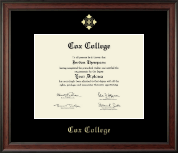 Cox College Diploma Frame - Gold Embossed Diploma Frame in Studio