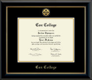 Cox College Diploma Frame - Gold Engraved Medallion Diploma Frame in Onyx Gold
