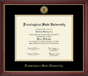 Framingham State University  Diploma Frame - Gold Engraved Medallion Diploma Frame in Kensington Gold