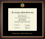 Framingham State University  Diploma Frame - Gold Engraved Medallion Diploma Frame in Regency Gold