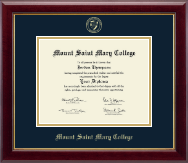 Mount Saint Mary College Diploma Frame - Gold Embossed Diploma Frame in Gallery