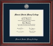 Mount Saint Mary College Diploma Frame - Silver Engraved Medallion Diploma Frame in Kensington Silver