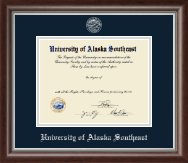 University of Alaska Southeast Diploma Frame - Silver Embossed Diploma Frame in Devonshire