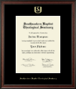 Southeastern Baptist Theological Seminary Diploma Frame - Gold Embossed Diploma Frame in Studio