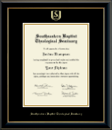 Southeastern Baptist Theological Seminary Diploma Frame - Gold Embossed Diploma Frame in Onyx Gold
