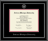 Indiana Wesleyan University  Diploma Frame - Silver Embossed Diploma Frame in Onyx Silver