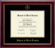 School of Hard Knocks Diploma Frame - Gold Embossed Diploma Frame in Gallery