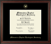 Midwestern Baptist Theological Seminary Diploma Frame - Gold Embossed Diploma Frame in Studio