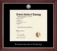 Rochester Institute of Technology Diploma Frame - Silver Engraved Medallion Diploma Frame in Kensington Silver