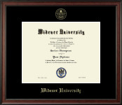 Widener University Diploma Frame - Gold Embossed Diploma Frame in Studio