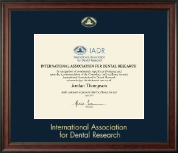 International Association of Dental Research Certificate Frame - Gold Embossed Certificate Frame in Studio