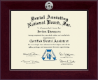 Dental Assisting National Board, Inc. Certificate Frame - Century Silver Engraved Certificate Frame in Cordova