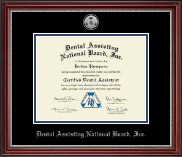 Dental Assisting National Board, Inc. Certificate Frame - Silver Medallion Certificate Frame in Kensington Silver