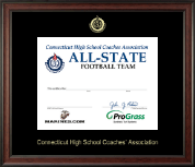 Connecticut High School Coaches Association Certificate Frame - Embossed Certificate Frame in Studio