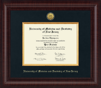 University of Medicine and Dentistry of New Jersey Diploma Frame - Presidential Gold Engraved Diploma Frame in Premier
