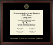 University of Medicine and Dentistry of New Jersey Diploma Frame - Gold Embossed Diploma Frame in Studio Gold