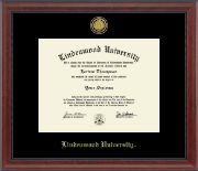 Lindenwood University Diploma Frame - Gold Engraved Medallion Diploma Frame in Signature