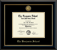 The Benjamin School Diploma Frame - Gold Engraved Medallion Diploma Frame in Onyx Gold