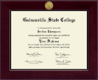 Gainesville State College Diploma Frame - Century Gold Engraved Diploma Frame in Cordova