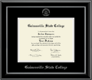 Gainesville State College Diploma Frame - Silver Embossed Diploma Frame in Onyx Silver