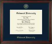 Oakwood University Diploma Frame - Gold Embossed Diploma Frame in Studio