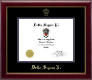 Delta Sigma Pi Certificate Frame - Gold Embossed Certificate Frame in Gallery