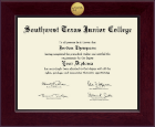 Southwest Texas Junior College Diploma Frame - Century Gold Engraved Diploma Frame in Cordova