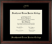 Southwest Texas Junior College Diploma Frame - Gold Embossed Diploma Frame in Studio